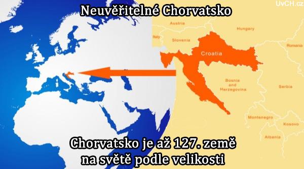 Chorvatsko je až 127. země na světě podle velikosti
